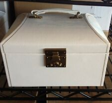 Pottery Barn Abbott Jewelry Box White Faux Leather Medium Size NIB