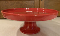 "R-Home Red Footed Cake Stand Made in Portugal - 11.5"" In Diameter, 5"" Tall - NWT"