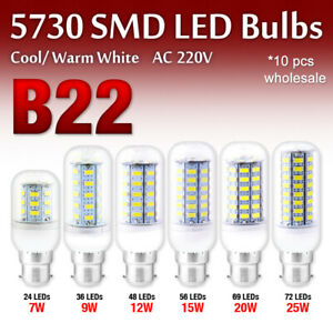 10 Pcs Brightly 5730 SMD High-effective LED Corn Bulbs Lamp Light 220V B22 Base