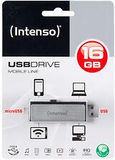 CLE HAUT DE GAMME OTG MICRO + USB 16 GO Intenso AUTO-PROTEGEE / coulissante alu