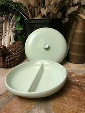 """RUSSEL WRIGHT IROQUOIS LETTUCE DIVIDED CASSEROLE DISH WITH LID 10"""" Free Shipping"""