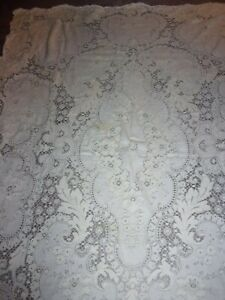 Vintage Quaker Lace Dinner Table Cloth 52x68 #610 Ivory