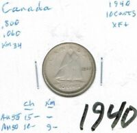 1940 Canadian Circulated Business Strike George V Silver Ten Cent Coin!