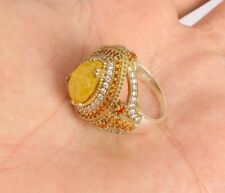 925 Sterling Silver Handmade Jewelry Yellow Jasper  Ladie's Ring Size 6 up to 11