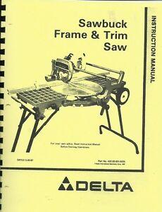 Delta Sawbuck Frame & Trim Saw Owner's  Manual