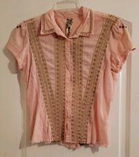 Johnny Was Workshop Size Medium Women's Embroidered Raw Hem Shirt Blouse