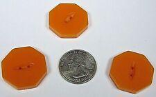 New listing 3 Antique Vintage Art Deco Octagon 2 Hole Orange Button Bakelite? Plastic