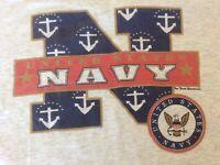 VTG United States Navy Graphic T Shirt Gray Single Stitch Cotton Large Oneita