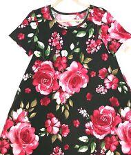 Small LuLaRoe JESSIE Swing Dress Pink Magenta ROSES Gorgeous