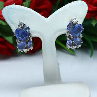 NATURAL BLUE TANZANITE & WHITE CZ EARRINGS 925 STERLING SILVER