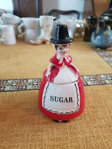VINTAGE SOUVENIR SUGAR BOWL WELSH LADY FIGURE LOVELY NOVELTY
