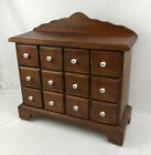 Vintage Wood Apothecary Spice Cabinet 12 Drawer Table Top Porcelain Knob Store