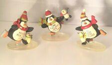 "3 Blossom Bucket Resin Figurines Penguins Ice Skating Gliding Friends Winter 3"""