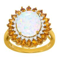 Created Opal, White Sapphire & Natural Citrine Ring in 14K Gold-Plated Silver