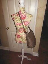 WOMEN'S VINTAGE SHARIF BROWN TAUPE BUTTER SOFT LEATHER CROSSBODY HANDBAG PURSE