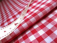 "RED GINGHAM FABRIC 1/4"" 6MM CHECK POLYCOTTON FAT QUARTERS CRAFT SHABBY CHIC"
