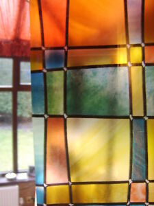 2mX67.5cm STAINED GLASS WINDOW COVERING SELF AD VINYL FILM STICKYBACK FAB11806