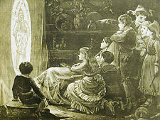 End of the Chrismas Party CHILDREN WATCHING LIGHT SCREEN 1878 Print Matted