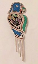 Inlaid Parrot Brooch Pin. Large Sterling Silver Stone