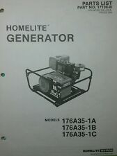 Homelite 176A35-1A, B, C, D Generator Parts Manual 6pg Survival Camping Preppers