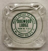 "Vintage DOGWOOD LODGE Radford Virginia Glass Ashtray ~ 3 1/2"" Excellent!"