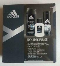 Adidas Dynamic Pulse 3 Piece Gift Set Shower Gel Body Spray  Eau De Toilette NEW