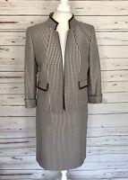Tahari ASL Women's 2PC Skirt Suit Beige Houndstooth Blazer Size 10 Skirt Size 8