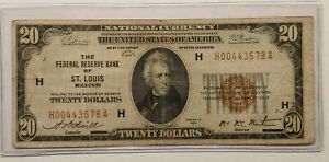 1929 $20 NATIONAL CURRENCY Bank Note  6 DIGIT SERIAL #  St Louis, MO