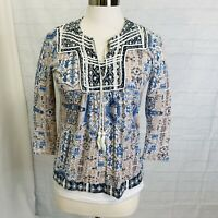 Lucky Brand Women's S Top Blue White Brown Boho Embroidery Tassel Tie 3/4 #X#2