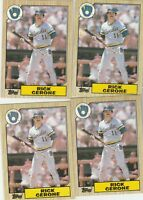 FREE SHIPPING-MINT-1987 Topps Rick Cerone Milwaukee Brewers 129-4 CARDS