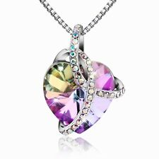 18K Gold GP Purple Heart Crystal necklace
