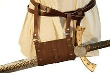 LARP-SCA-Cosplay-Roleplaying-BROWN LEATHER FOAM WEAPON HANGING STRAP SCABBARD
