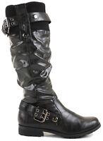 Womens Winter Biker Style Slouch Low Flat Heel Wide Calf Leg Knee Boots Size