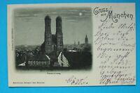 Bayern Mondschein AK Gruss aus München 1898 OBB Frauenkirche Ortsansicht +++ (1