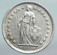 1961 SWITZERLAND - SILVER 2 Francs Coin HELVETIA Symbolizes SWISS Nation i90182