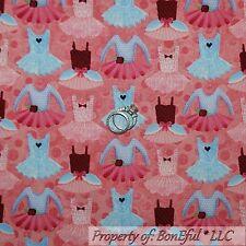 BonEful Fabric FQ Cotton Quilt VTG PINK Blue Purple Ballet Dance Girl Dress Tutu