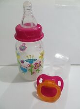 MY BABY ALIVE 2010 MAGNETIC Bottle- 5oz Fake Milk Flower Design + Pacifier 8yr+