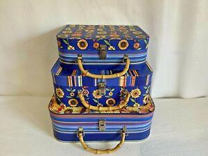 3 Sunflower Nesting Stackable Suitcase Storage Keepsake Boxes Punch Studio