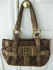 Large Brown Canvas, Leather Isabella Fiore Satchel Style Handbag Purse
