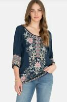 Johnny Was MARI Embroidered Tunic Blouse Delicate Front Buttons Bastille Blue ~L