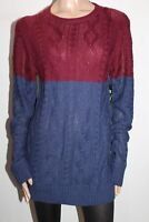 HURLEY Brand Navy Burgundy Chunky Knit Long Sleeve Jumper Size M BNWT #SS118