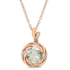 Amour Rose Plated Silver Green Amethyst White Topaz & Diamond Halo Necklace