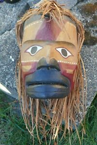 Rare Northwest Makah Hand Carved Polychrome Spruce Warrior Mask By Micah McCarty