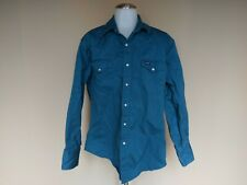 Wrangler Men's Large Western Button Down Blue Shirt Cowboy Rockabilly Pearl Snap