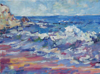 Art Original Oil Painting by RM Mortensen Landscape Seascape Beach Ocean