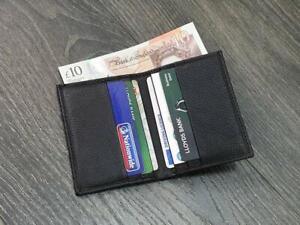 Small Black Genuine Soft Leather Card Holder Wallet Slimline Cards & Cash Pocket
