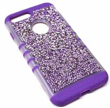 For iPhone 7 PLUS Frost Purple Silver 3D Rhinestones Bling Hybrid Armor Case