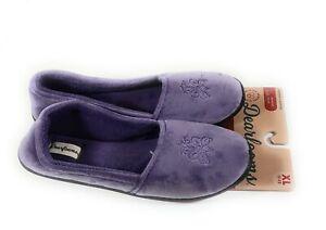 Dearfoams Womens XLarge 11-12 Smokey Purple Slippers Hard Sole Soft Velour New