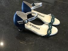 Juicy Couture New & Genuine Girls Blue Leather Sandals UK 12, EU 31 With Logo