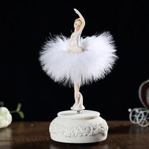Ballerina Spieluhr Tanzende Mädchen Schwanensee Karussell m/ Feder Geschenk Weiß